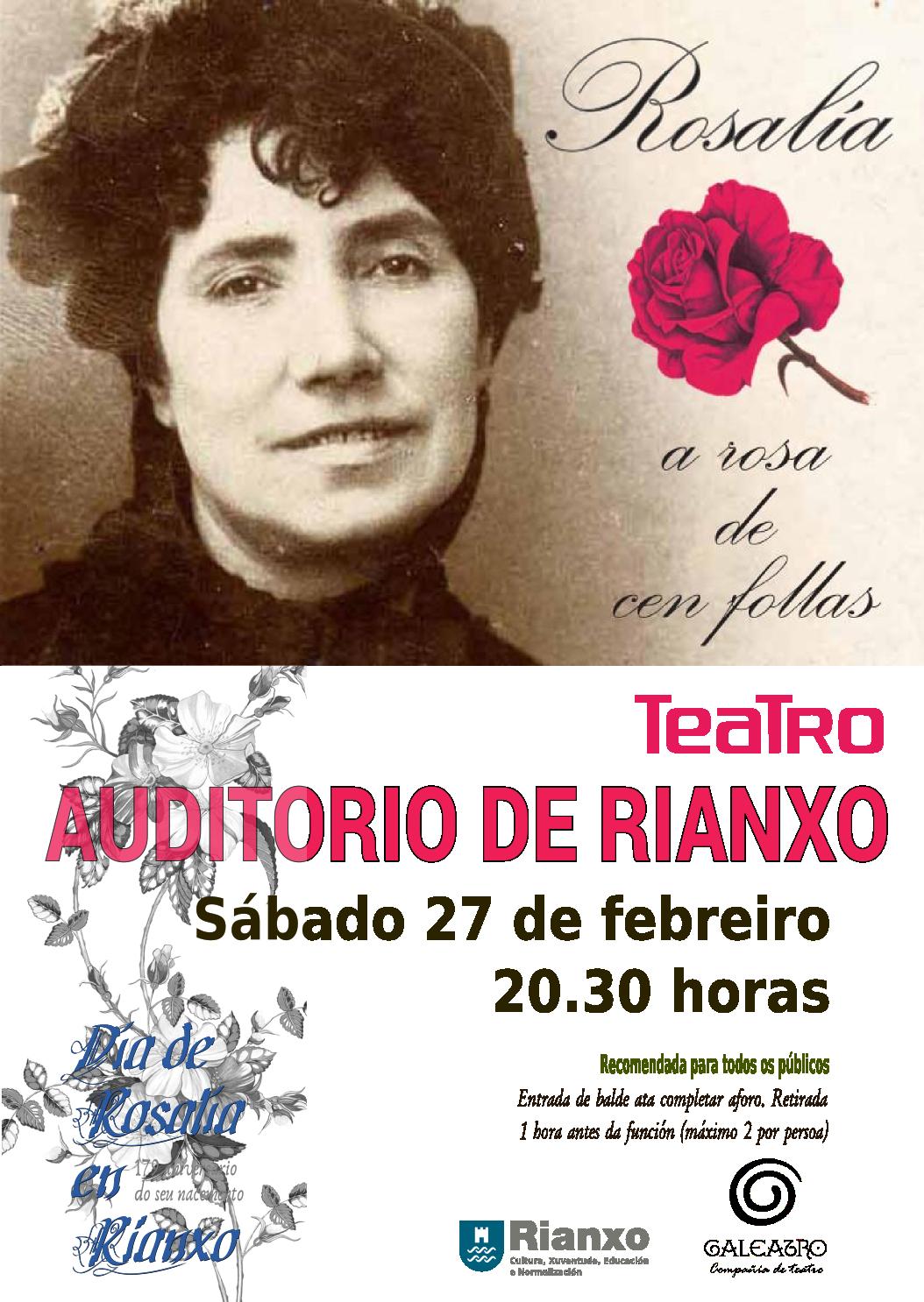 ROSALÍA, ROSA CEN FOLLAS-Galeatro.cartaz web